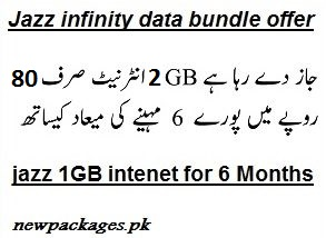 Jazz infinity data bundle package offer, 2GB in Rs.89 for 180 days